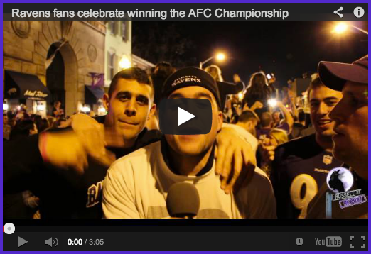 Ravens fans celebrate AFC title in the streets of Baltimore
