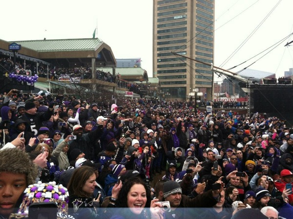 "Baltimore wins the ""Send-off Rally"" Bowl"